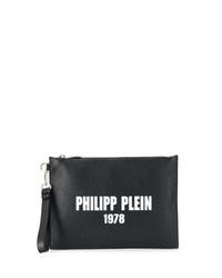 Bolso con cremallera de cuero estampado en negro y blanco de Philipp Plein