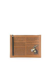 Bolso con cremallera de cuero estampado marrón claro de Etro