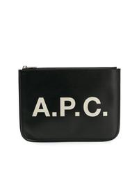 Bolso con cremallera de cuero estampado negro de A.P.C.