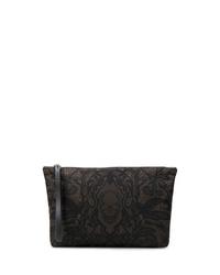 Bolso con cremallera de cuero estampado negro de Alexander McQueen