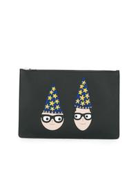 Bolso con cremallera de cuero estampado negro de Dolce & Gabbana