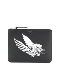 Bolso con cremallera de cuero estampado negro de Givenchy