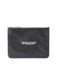 Bolso con cremallera de cuero estampado negro de Off-White