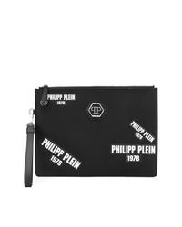 Bolso con cremallera de cuero estampado negro de Philipp Plein