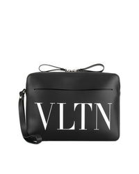 Bolso con cremallera de cuero estampado negro de Valentino