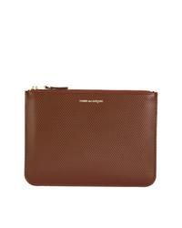 Bolso con cremallera de cuero marrón de Comme Des Garçons Wallet