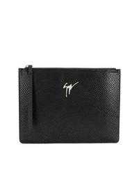 Bolso con cremallera de cuero negro de Giuseppe Zanotti Design