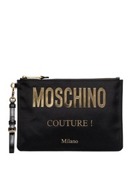 Bolso con cremallera de cuero negro de Moschino
