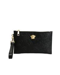 Bolso con Cremallera de Cuero Negro de Versace