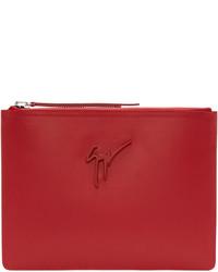 Bolso con cremallera de cuero rojo de Giuseppe Zanotti