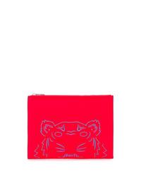 Bolso con cremallera de cuero rojo de Kenzo