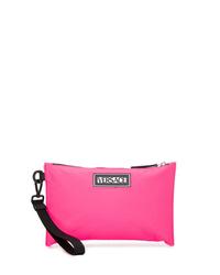 Bolso con cremallera de cuero rosa de Versace