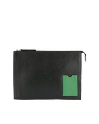 Bolso con cremallera de cuero verde oscuro de AMI Alexandre Mattiussi