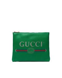 Bolso con cremallera de cuero verde de Gucci