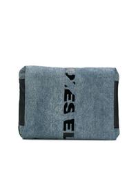 Bolso con cremallera de lona azul marino de Diesel