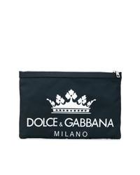Bolso con cremallera de lona azul marino de Dolce & Gabbana