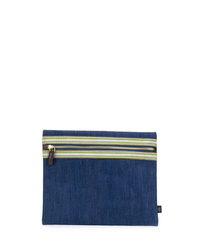 Bolso con cremallera de lona azul marino de Lardini