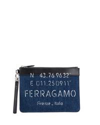 Bolso con cremallera de lona azul marino de Salvatore Ferragamo