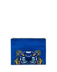 Bolso con cremallera de lona bordado azul de Kenzo