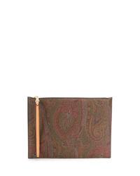 Bolso con cremallera de lona de paisley marrón de Etro