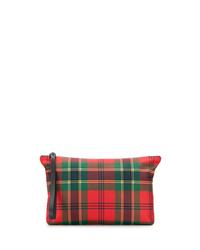 Bolso con cremallera de lona de tartán rojo de Alexander McQueen