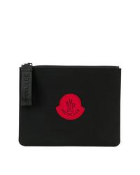 Bolso con cremallera de lona estampado negro de Moncler