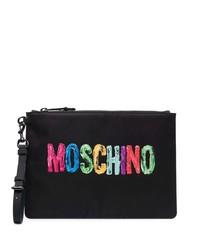 Bolso con cremallera de lona estampado negro de Moschino