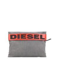 Bolso con cremallera de lona gris de Diesel