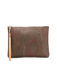 Bolso con cremallera de paisley marrón de Etro