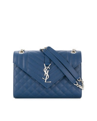 Bolso de hombre de cuero acolchado azul de Saint Laurent
