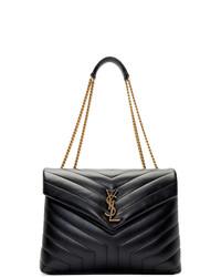 Bolso de hombre de cuero acolchado negro de Saint Laurent