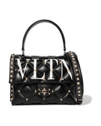 Bolso de hombre de cuero acolchado negro de Valentino