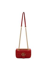 Bolso de hombre de cuero acolchado rojo de Gucci