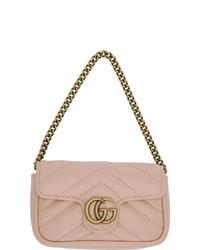 Bolso de hombre de cuero acolchado rosado de Gucci