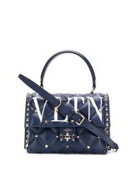 Bolso de hombre de cuero azul marino de Valentino