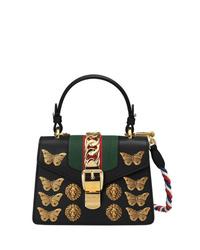 Bolso de hombre de cuero con adornos negro de Gucci