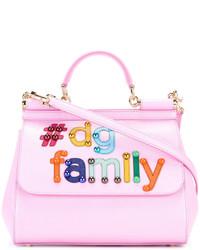 Bolso de hombre de cuero con adornos rosado de Dolce & Gabbana