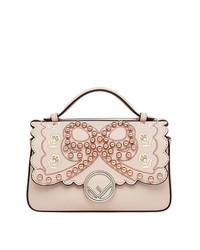Bolso de hombre de cuero con adornos rosado de Fendi