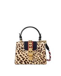Bolso de hombre de cuero de leopardo marrón claro de Gucci