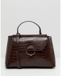 Bolso de hombre de cuero en marrón oscuro de ASOS DESIGN