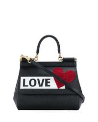 Bolso de hombre de cuero estampado negro de Dolce & Gabbana