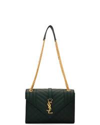 Bolso de hombre de cuero verde oscuro de Saint Laurent