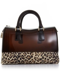 Bolso de hombre de goma de leopardo negro