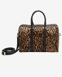 Bolso deportivo de cuero de leopardo marrón