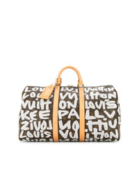 Bolso deportivo de cuero estampado en marrón oscuro de Louis Vuitton Vintage