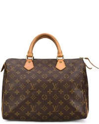 Bolso Deportivo de Cuero Estampado Marrón Oscuro de Louis Vuitton
