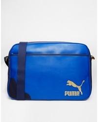 Bolso mensajero de cuero azul de Puma