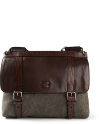 Bolso mensajero de cuero en marrón oscuro de Dolce & Gabbana