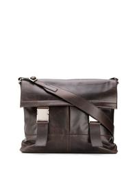 Bolso mensajero de cuero en marrón oscuro de Orciani