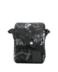 Bolso mensajero de cuero estampado en negro y blanco de Lanvin